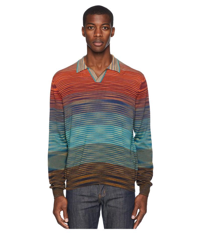 ミッソーニ メンズ シャツ トップス Ombre Long Sleeve Polo Sweater Bordeaux