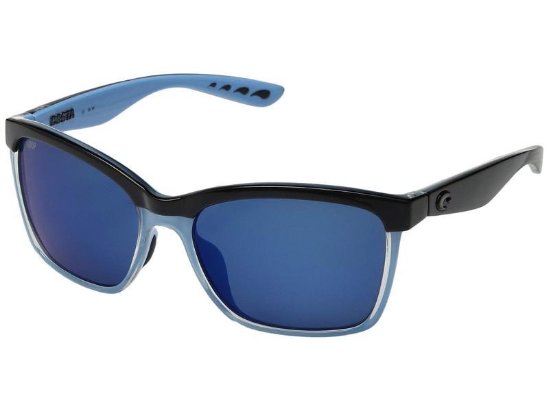 コスタ レディース サングラス・アイウェア アクセサリー Anaa Shiny Black/Crystal/Light Blue/Blue Mirror 580P