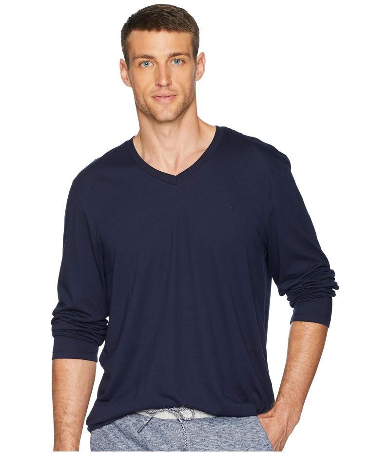 カルバンクライン メンズ シャツ トップス Long Sleeve Jersey V-Neck T-Shirt Cadet Navy