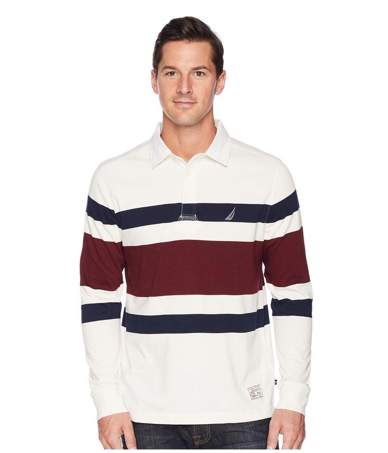 ナウティカ メンズ シャツ トップス Long Sleeve Rugby Stripe Shipman Marshmellow