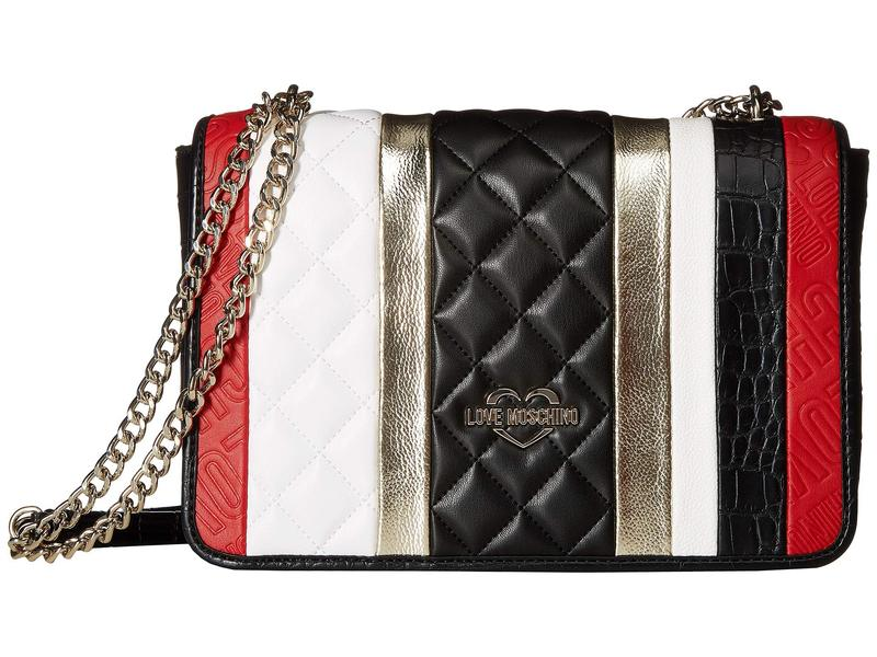 ラブ モスキーノ レディース ハンドバッグ バッグ Fashion Stripes Quilted Shoulder Bag White/Black/Gold/Red