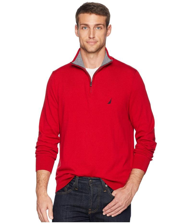 ナウティカ メンズ ニット・セーター アウター 12 Gauge 1/4 Zip Sweater Nautica Red
