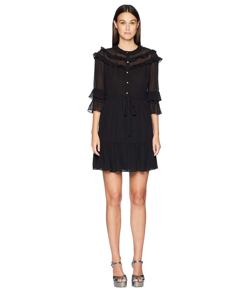 レベッカテイラー レディース ワンピース トップス Long Sleeve Georgette & Clip Dress Black