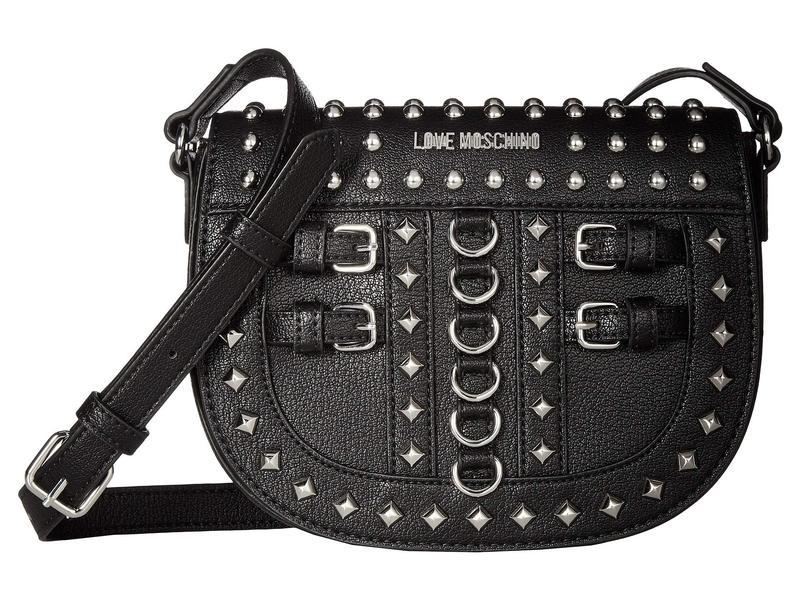 ラブ モスキーノ レディース ハンドバッグ バッグ Crossbody Bag with Belt Studs Black