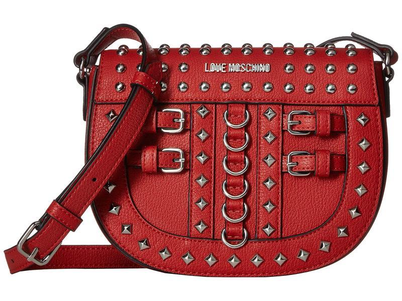 ラブ モスキーノ レディース ハンドバッグ バッグ Crossbody Bag with Belt Studs Red