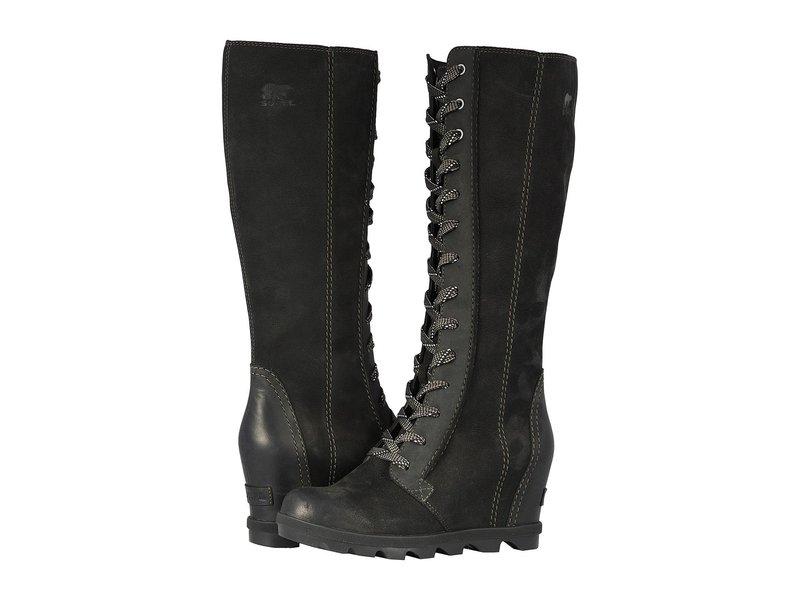 ソレル レディース ブーツ・レインブーツ シューズ Joan of Arctic Wedge II Tall Black Full Grain Leather/Nubuck Combo