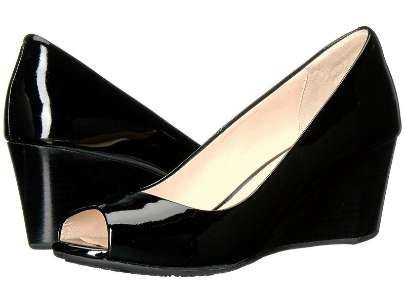コールハーン レディース ヒール シューズ Sadie Open Toe Wedge 65mm Black Patent