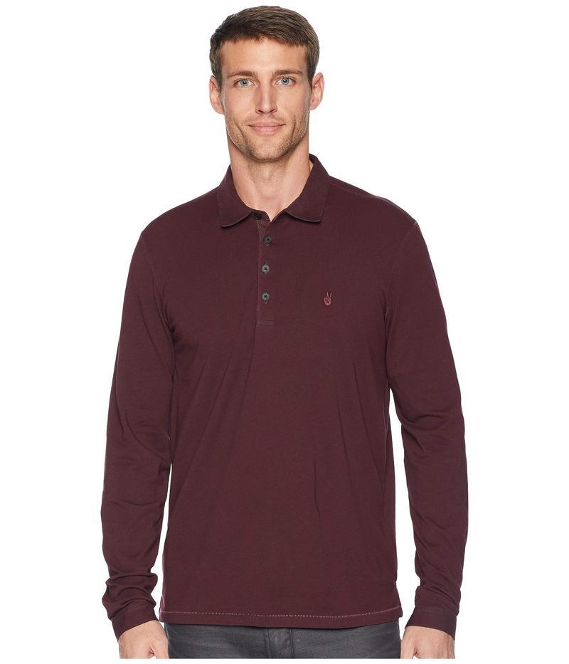 ジョンバルバトス メンズ シャツ トップス Long Sleeve Polo w/ Peace Sign Embroidery Bordeaux