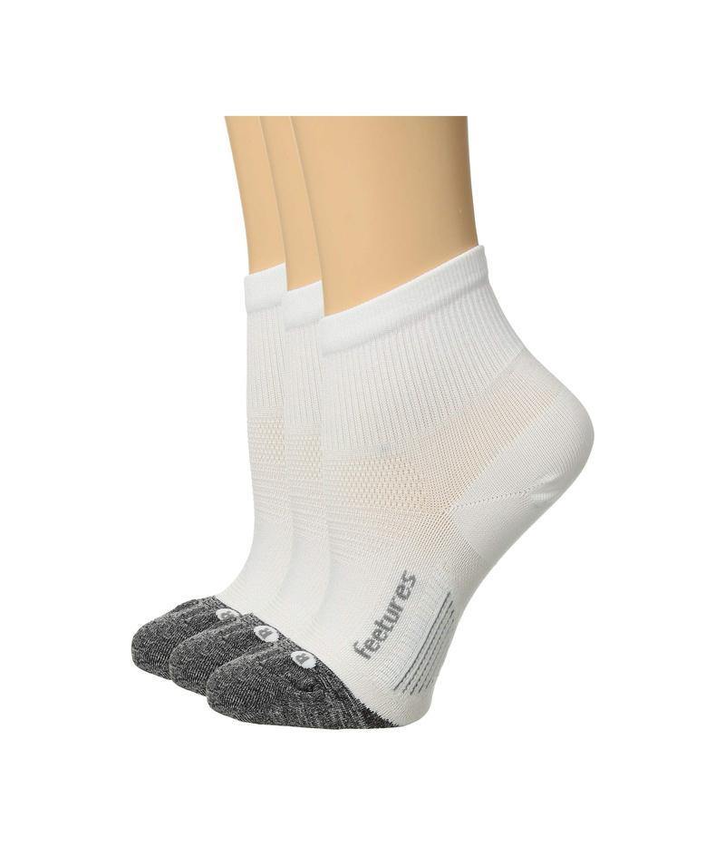 フィーチャー メンズ 靴下 アンダーウェア Elite Ultra Light Quarter 3-Pair Pack White