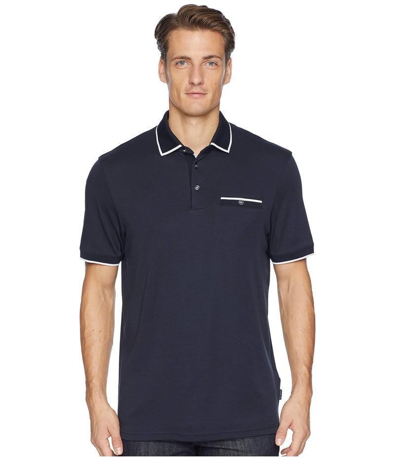 テッドベーカー メンズ シャツ トップス Jelly Short Sleeve Flat Knit Collar Polo Navy