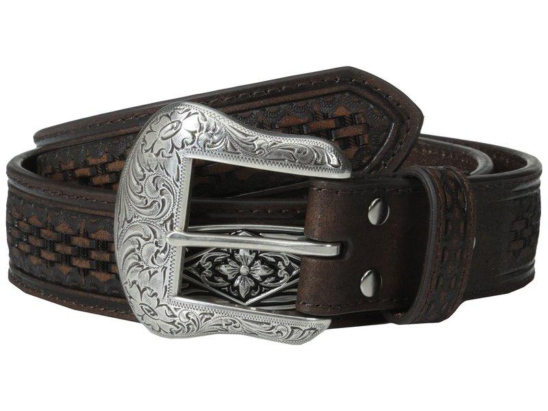 エムエフウエスターン メンズ ベルト アクセサリー Embossed Diamond Concho Belt Brown
