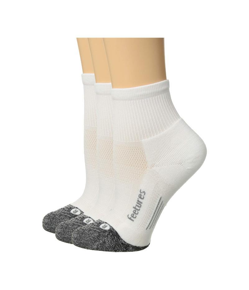 フィーチャー メンズ 靴下 アンダーウェア Elite Light Cushion Quarter 3-Pair Pack White