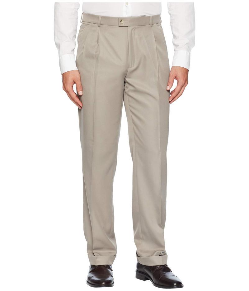 ペリーエリス メンズ カジュアルパンツ ボトムス Double Pleated Classic Fit Performance Dress Pants Simply Taupe