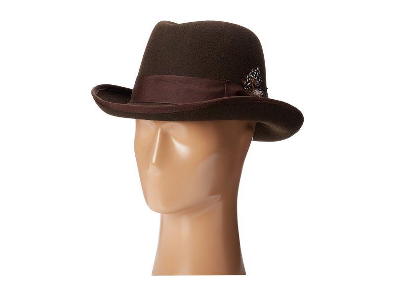 ステイシーアダムス メンズ 帽子 アクセサリー Homburg Wool Felt Hat w/ Grosgrain Band Chocolate