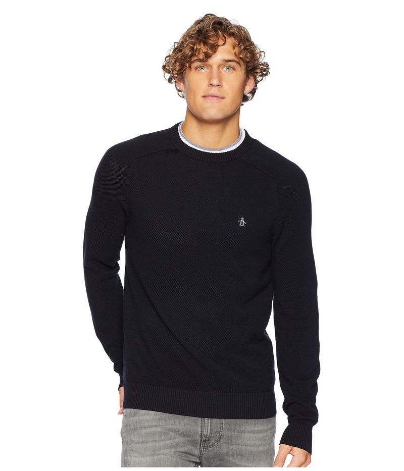 オリジナルペンギン メンズ ニット・セーター アウター Long Sleeve Honeycomb Pique Sweater True Black
