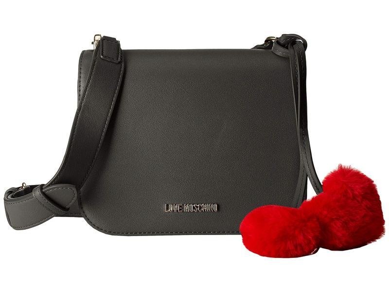 ラブ モスキーノ レディース ハンドバッグ バッグ Crossbody Bag with Faux Fur Hearts Black