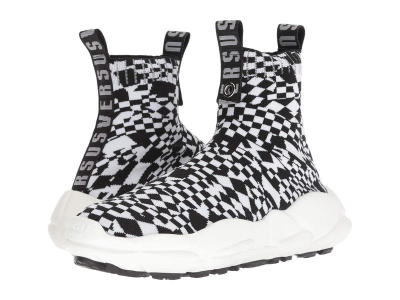 ヴェルサス ヴェルサーチ メンズ スニーカー シューズ Checkerboard Socks Sneaker Optic White/Black/Black/Optic White