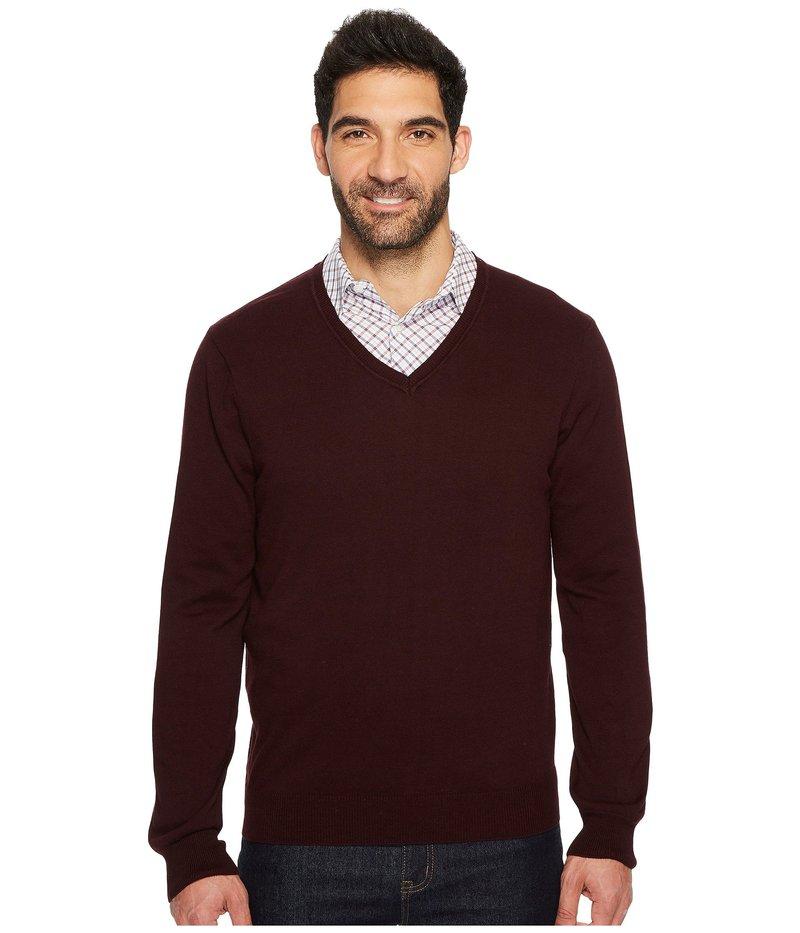ペリーエリス メンズ ニット・セーター アウター Classic Solid V-Neck Sweater Port