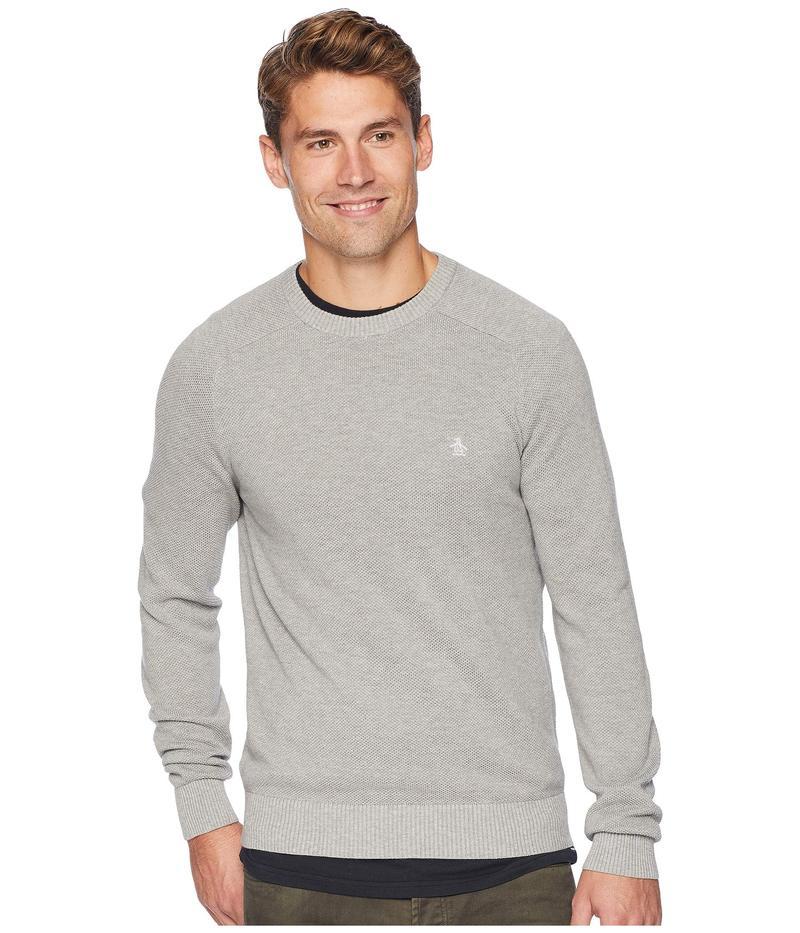 オリジナルペンギン メンズ ニット・セーター アウター Long Sleeve Honeycomb Pique Sweater Rain Heather