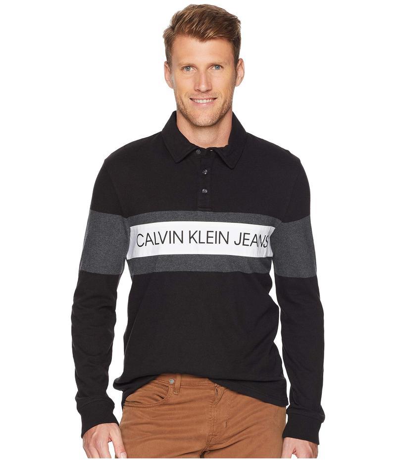 カルバンクライン メンズ シャツ トップス Logo Rugby Shirt Black