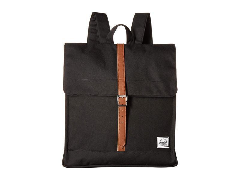 ハーシェルサプライ メンズ バックパック・リュックサック バッグ City Mid-Volume Black/Tan Synthetic Leather