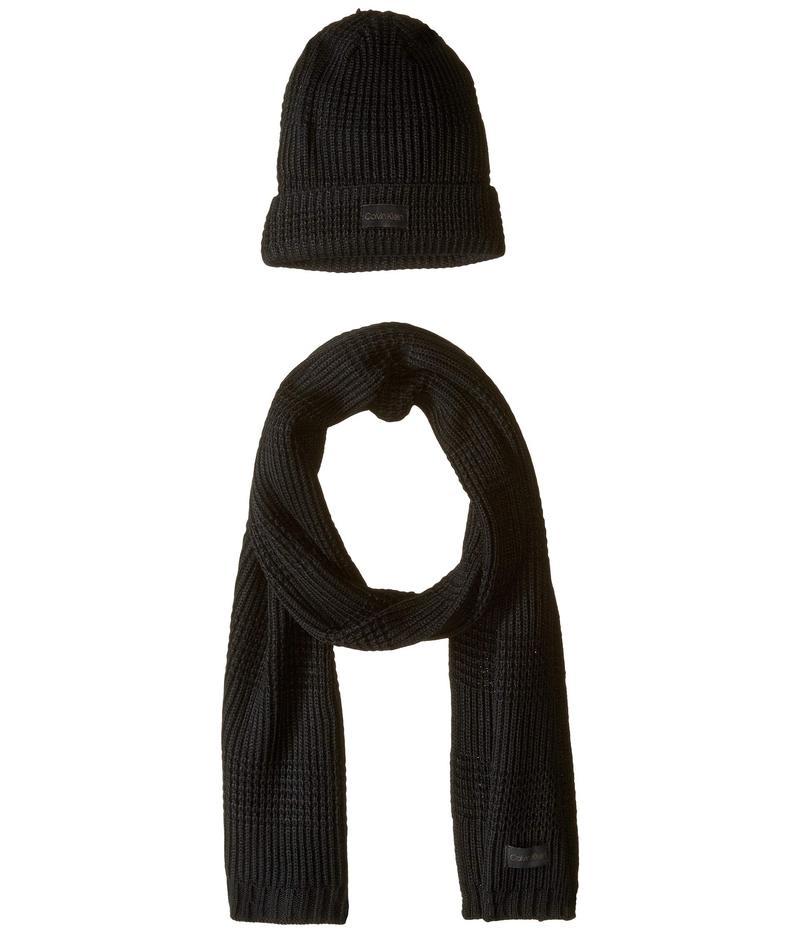 カルバンクライン メンズ 帽子 アクセサリー Thermal Stitch Hat and Scarf Set Black