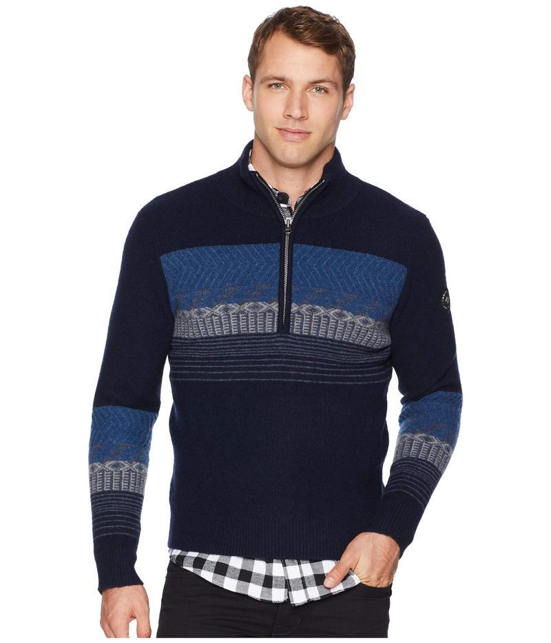 オバマイヤー メンズ ニット・セーター アウター Textured 1/2 Zip Sweater Nocturnal Blue