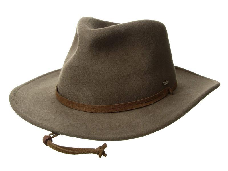 スカラ メンズ 帽子 アクセサリー Wool Felt Outback with Earlap Khaki