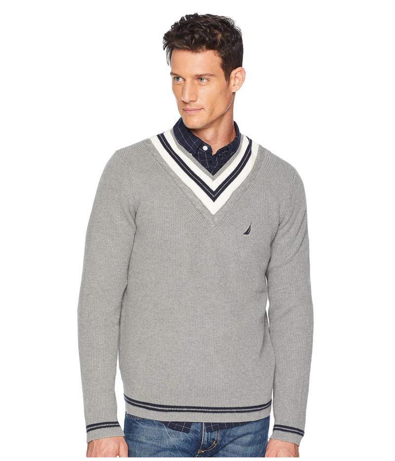 ナウティカ メンズ ニット・セーター アウター 9GG Cable Tipped V-Neck Sweater Morgans Grey Heather