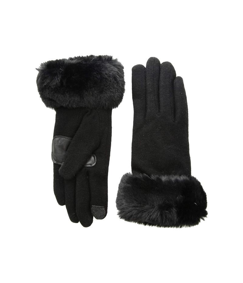 エコーデザイン レディース 手袋 アクセサリー Faux Fur Cuff Gloves Echo Black