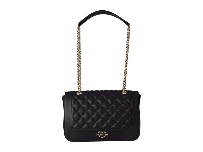 Bag Black/Gold レディース Strap Metal Quilted ハンドバッグ Super Shoulder ラブ バッグ Chain モスキーノ