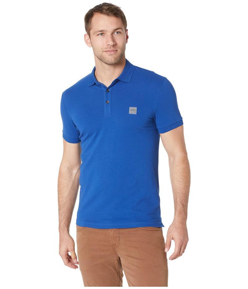 ボス オレンジ メンズ シャツ トップス Short Sleeve Polo with Logo Patch Dark Blue