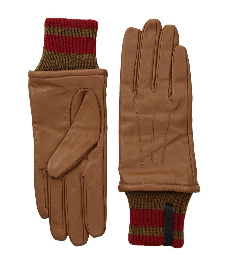 カルバンクライン レディース 手袋 アクセサリー Leather Gloves w/ Striped Knit Cuff Camel
