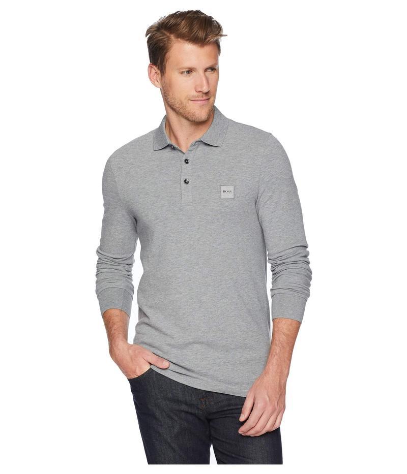 ボス オレンジ メンズ シャツ トップス Long Sleeve Polo with Logo Patch Grey