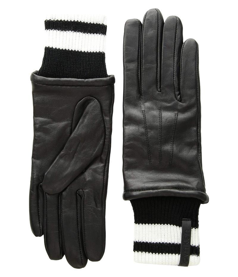 カルバンクライン レディース 手袋 アクセサリー Leather Gloves w/ Striped Knit Cuff Black