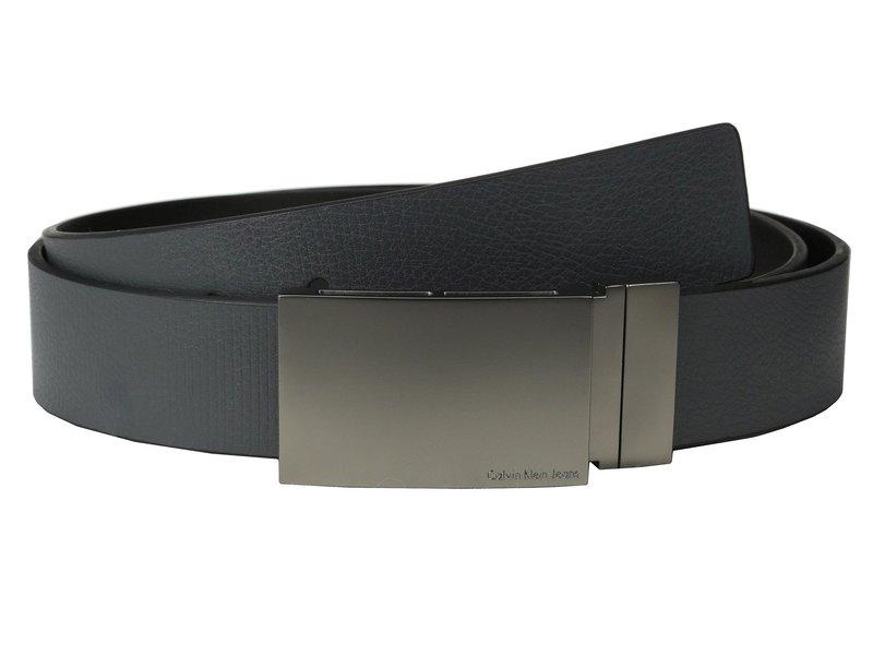 カルバンクライン メンズ ベルト アクセサリー 38MM Reversible Flat Strap Smooth/Leather w/ Embossed Lines Grey Black