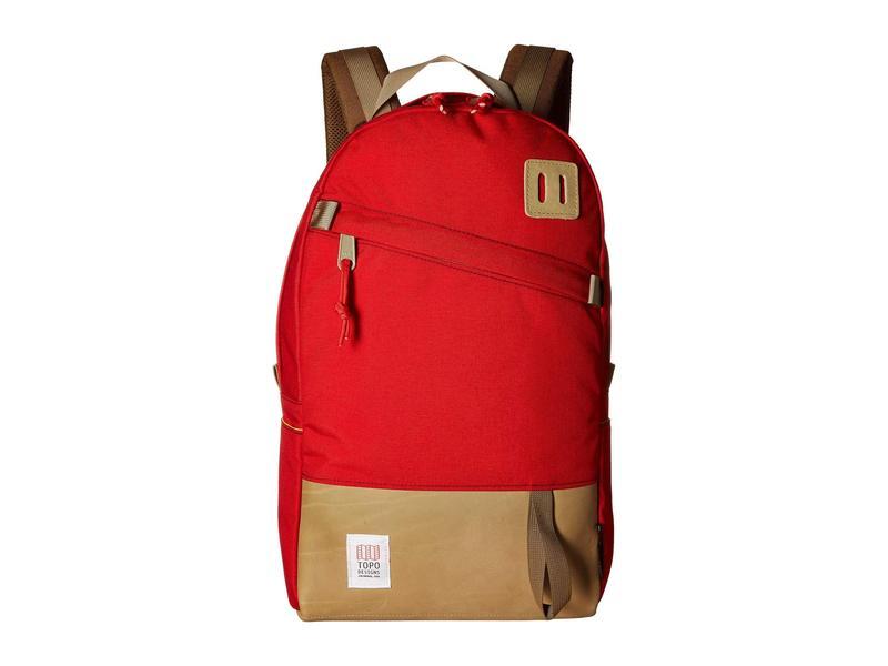トポ・デザイン メンズ バックパック・リュックサック バッグ Daypack Red/Khaki Leather
