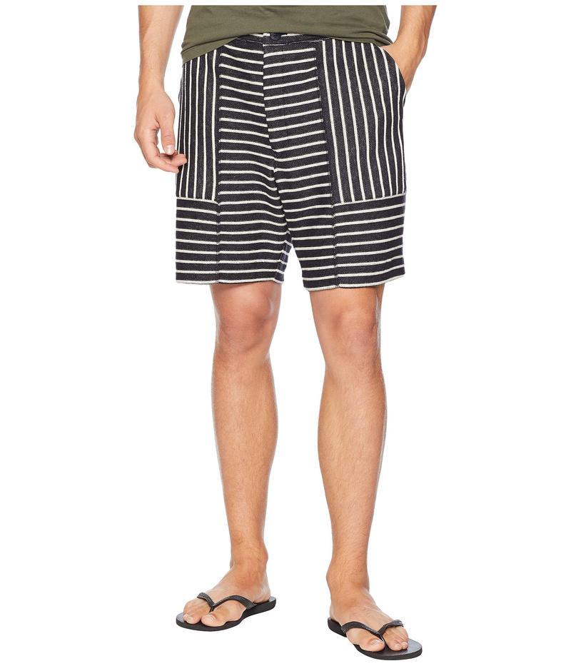 スノーピーク メンズ ハーフパンツ・ショーツ ボトムス Cotton/Linen Striped Shorts Navy/Ecru
