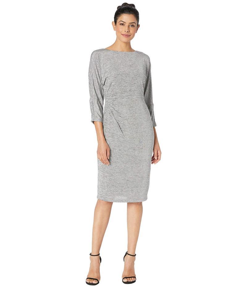 アドリアナ パペル レディース ワンピース トップス Armored Jersey Dress Bateau Neckline w/ 3/4 Length Dolman Sleeves Silver Heather