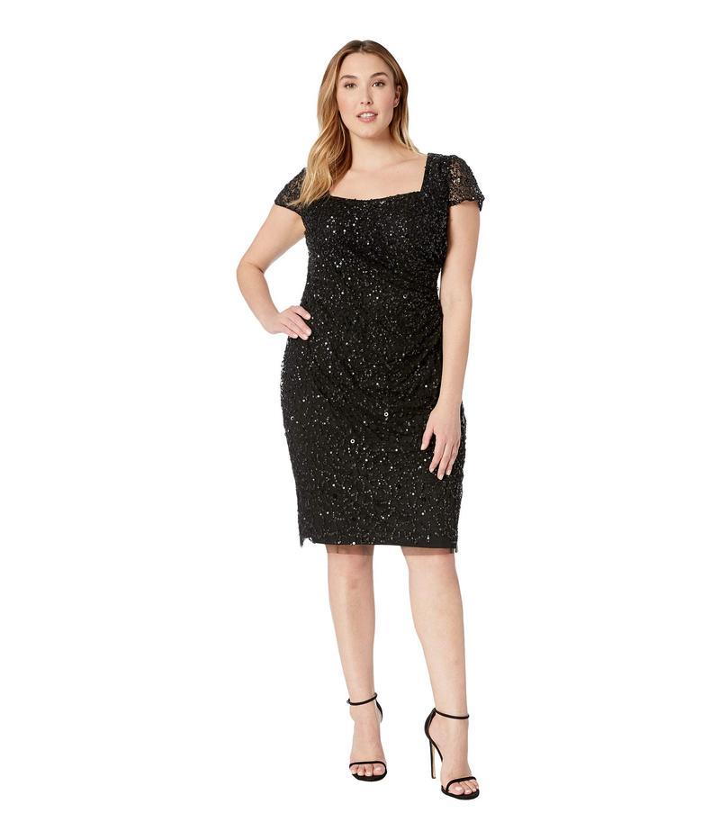 アドリアナ パペル レディース ワンピース トップス Plus Size Beaded Short Dress Black