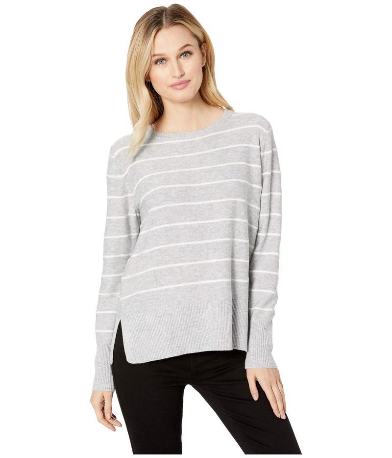 エヌワイディージェイ レディース ニット・セーター アウター Long Sleeve Crew Neck Sweater Heather Grey/Vanilla Stripe