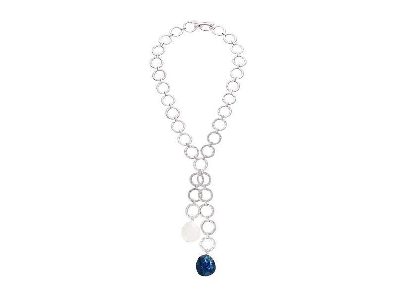 ロバートリーモリス レディース ネックレス・チョーカー・ペンダントトップ アクセサリー Stone Hammered Circle Link Y-Shaped Necklace Blue