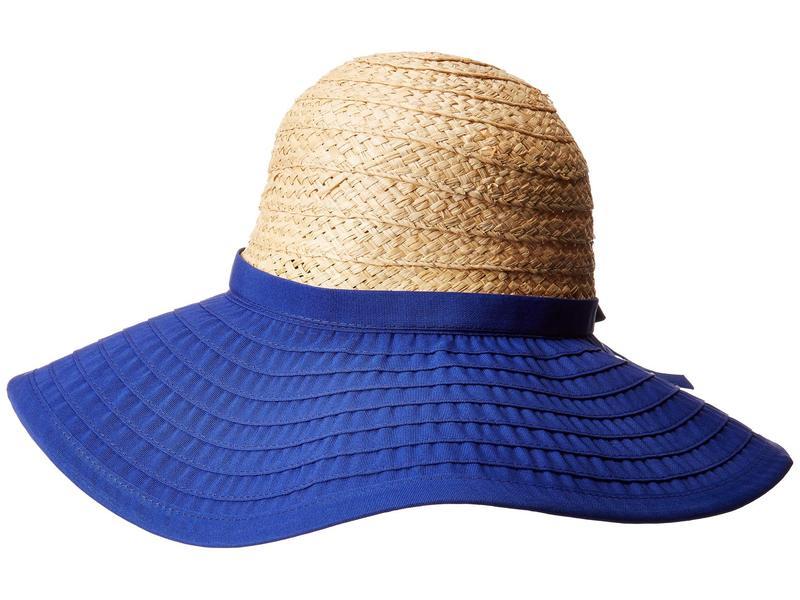 サンディエゴハット レディース 帽子 アクセサリー RBL4828 - Large Brim Ribbon Hat with Raffia Crown and Adjustable Tie Royal