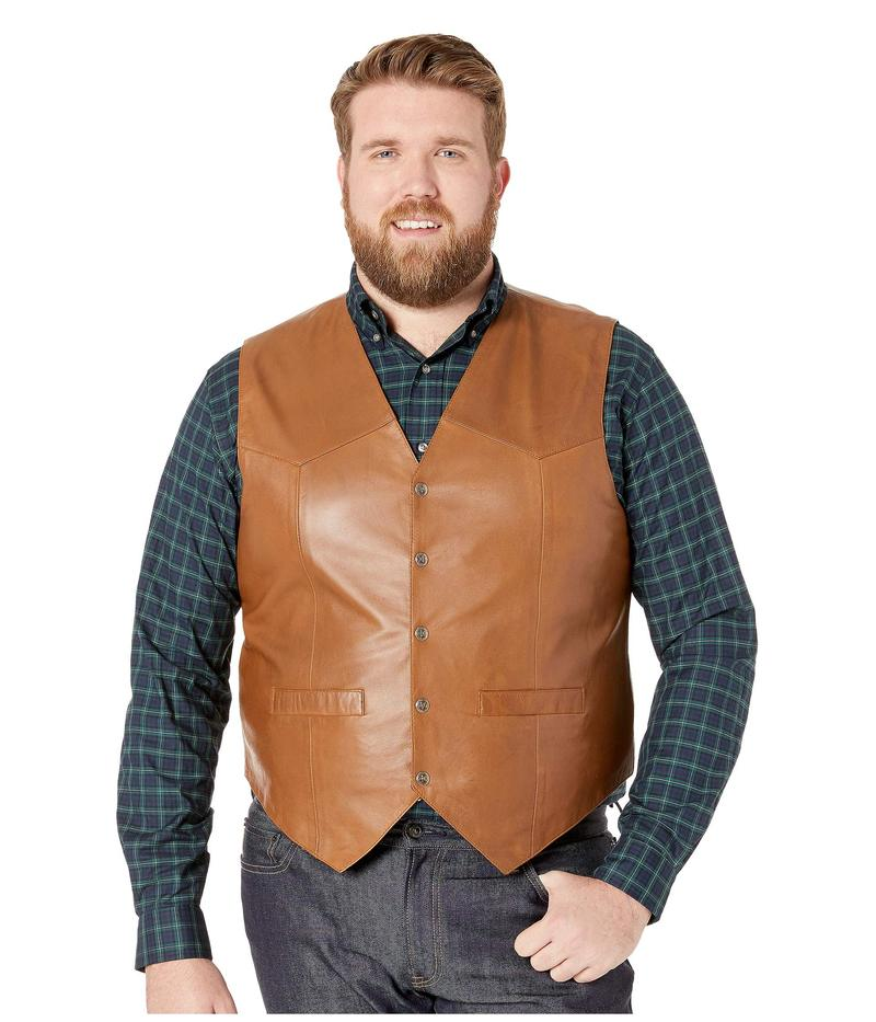 スカーリー メンズ コート アウター Leather Vest Tan