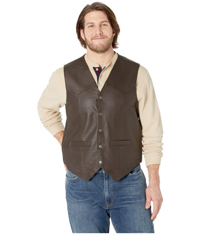 スカーリー メンズ コート アウター Leather Vest Brown