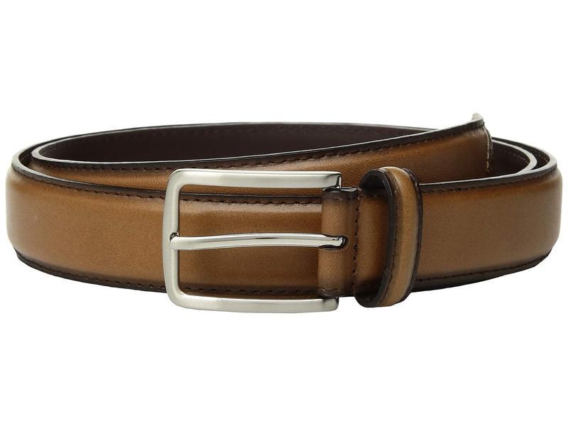 ステイシーアダムス メンズ ベルト アクセサリー 32mm Full Grain Leather Top w/ All Leather Lining Cross Stitch Perforated Tip Tan