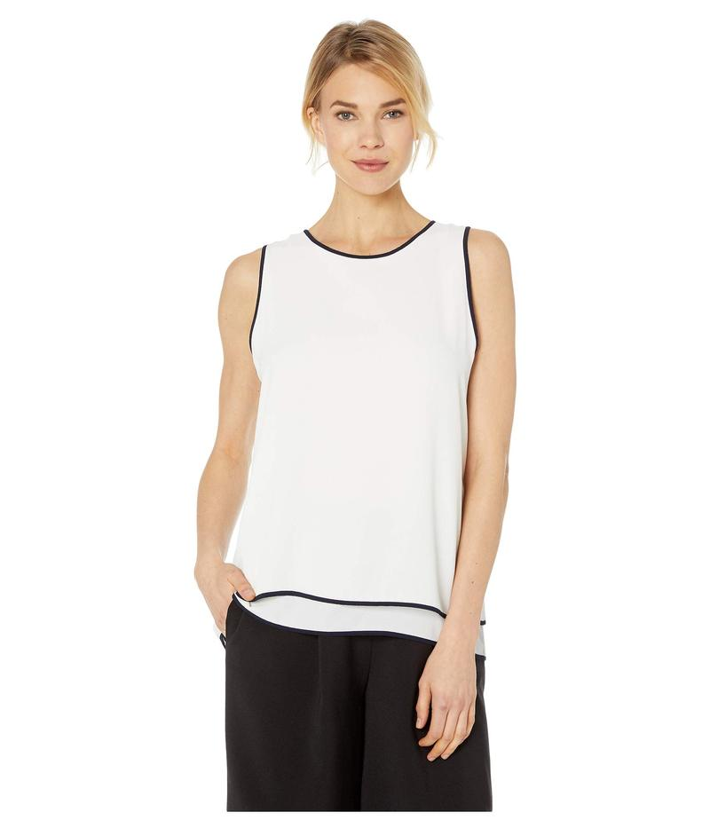 ヴィンスカムート レディース シャツ トップス Sleeveless Double Layered Contrast Piping Blouse Pearl Ivory