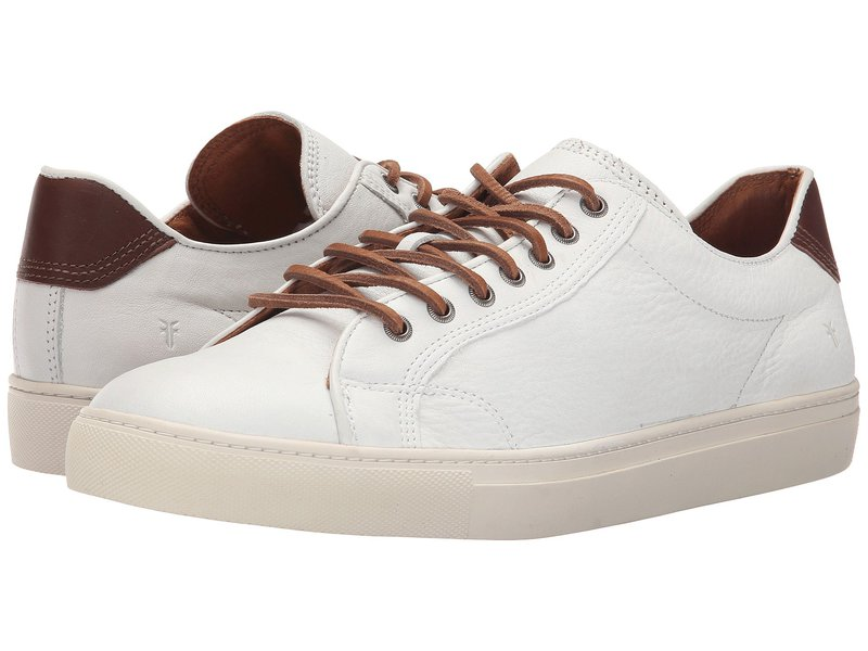 フライ メンズ スニーカー シューズ Walker Low Lace White Soft Full Grain Leather