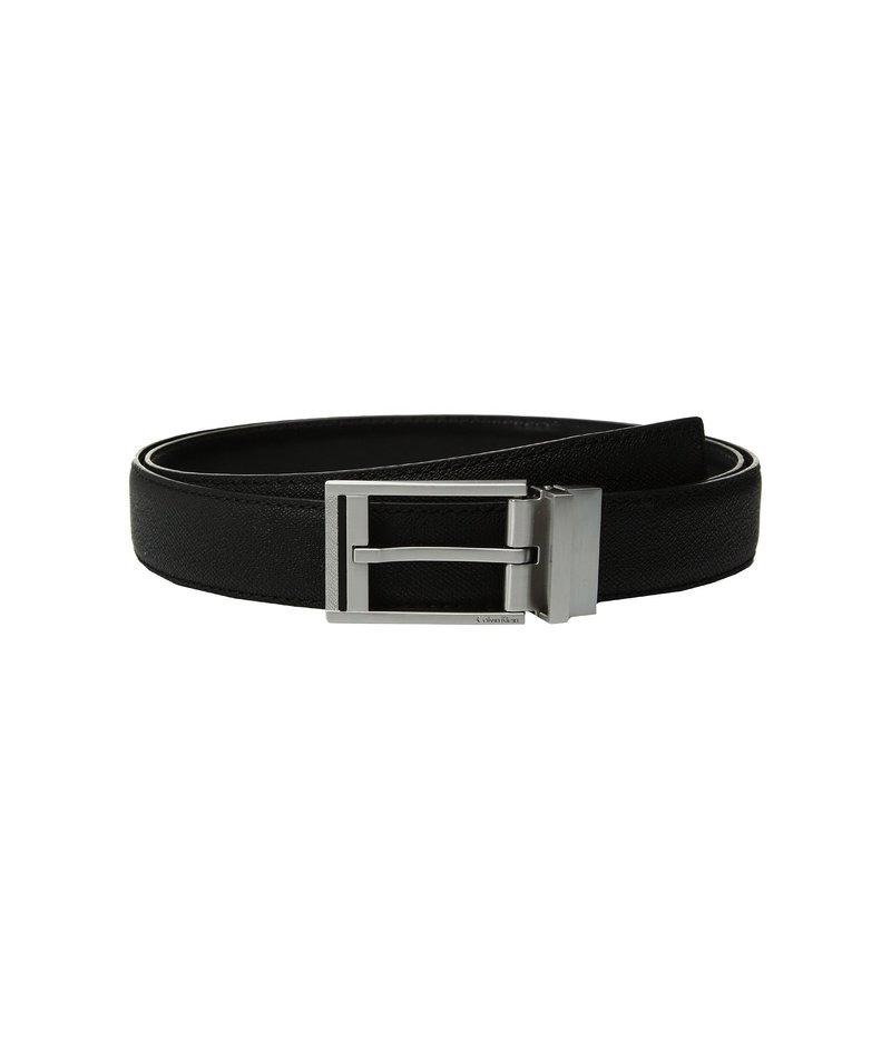 カルバンクライン メンズ ベルト アクセサリー 32mm Textured To Smooth Reversible Belt Black