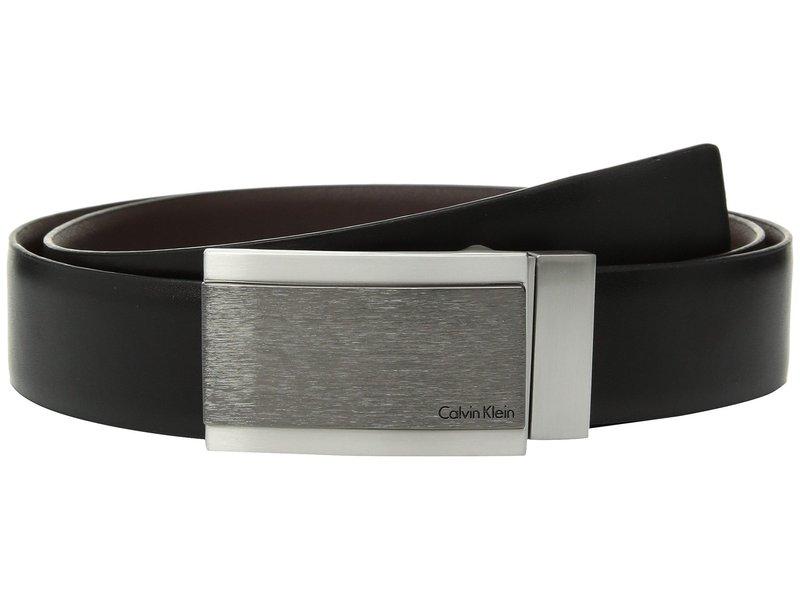 カルバンクライン メンズ ベルト アクセサリー 32mm Reversible Feather Edge Panel Belt Black